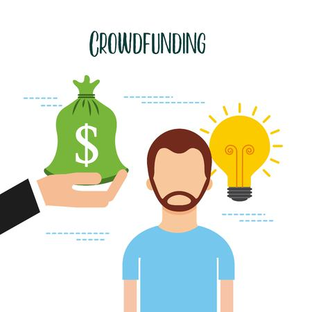 crowdfunding man and hand holding bag money idea creativity business vector illustration Illustration