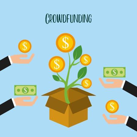 crowdfunding growth coins donation volunteer vector illustration Иллюстрация