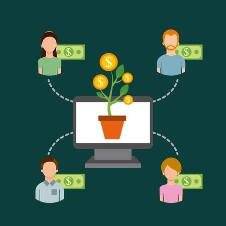 컴퓨터 공장 돈을 커뮤니티 사람들이 협업 벡터 일러스트 레이션