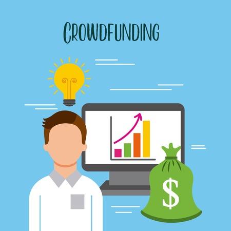 クラウドファンディングビジネスマンPCグラフお金アイデアベクトルイラスト