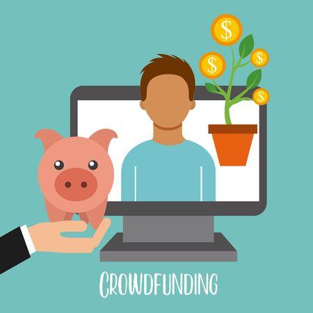 crowdfunding online cooperation people piggy banking vector illustration Ilustração
