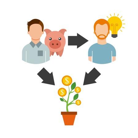 crowdfunding zakelijk project door het verhogen van de monetaire bijdragen van de menigte van mensen vector illustratie
