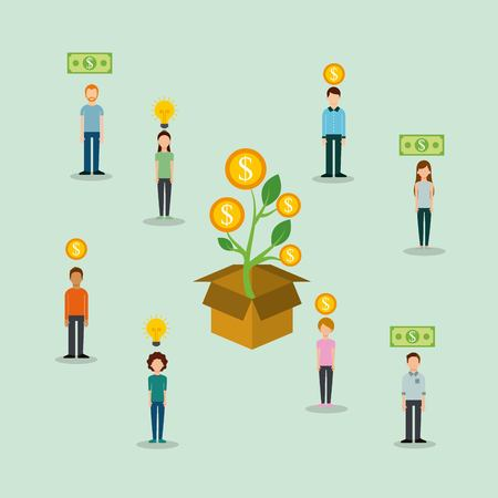 group of people money to box funding creativity process vector illustration