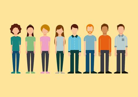 avatar group people man and woman standing image vector illustration
