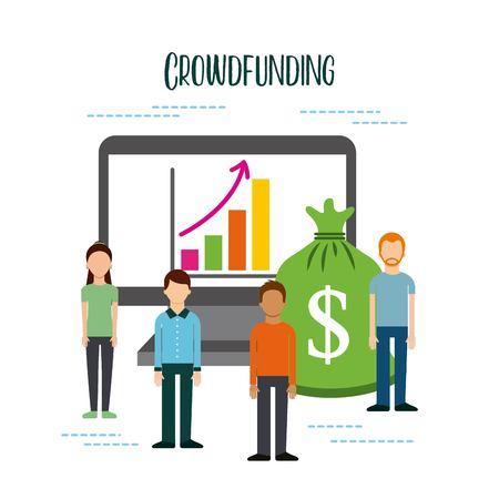 crowdfunding mensen geld computer online financieren grafiek vectorillustratie Stock Illustratie