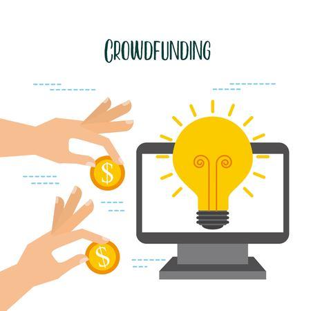 クラウドファンディングオンライン預金のお金のサポートコラボレーションベクターイラスト  イラスト・ベクター素材