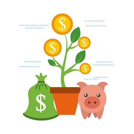 piggy money with growth coins business vector illustration