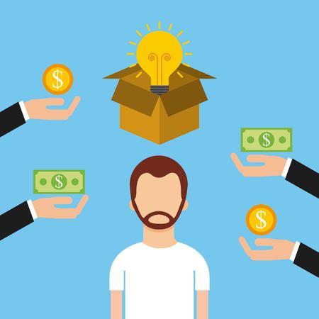 남자 문자 crowdfunding 돈 투자자 자본 벡터 일러스트 레이션