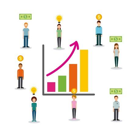 群衆は、昇給を示す財務のチャートでスポンサーに人々に資金を提供します。  イラスト・ベクター素材