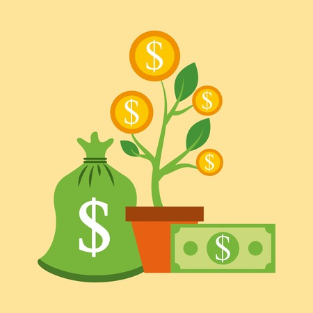 growth plant coins money banknote charity donation vector illustration