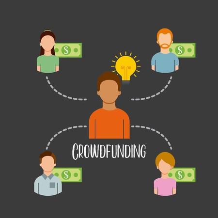 Crowdfunding personas patrocinan capital dinero vector illustration Foto de archivo - 85621649