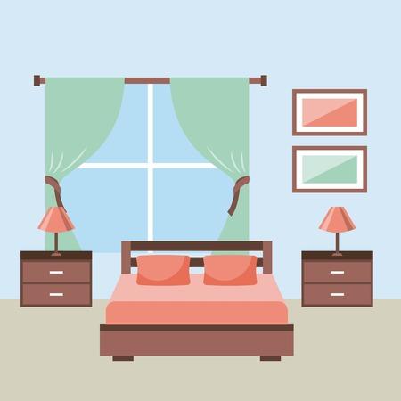 家具ベッドサイドテーブルと寝室インテリアランプフレームウィンドウベクトルイラスト