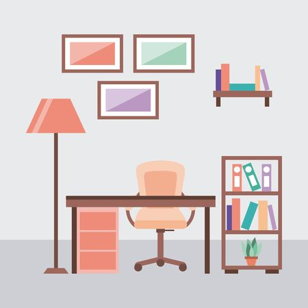 workplace concept work desk equipped with lamp frame armchair sketchbooks vector illustration