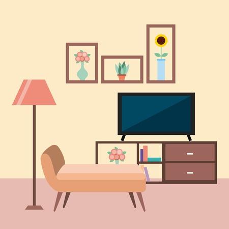television room furniture sofa floor lamp cabinet book shelves flowers vector illustration