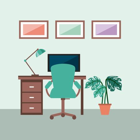 workplace concept work desk equipped with lamp frame armchair plant monitor vector illustration