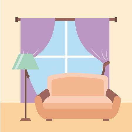 リビングルームインテリアソファランプフロア窓ドレープベクターイラスト 写真素材 - 85621659
