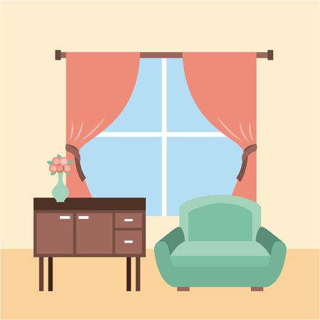 living room interior a sofa furniture cabinet drapes window and flower vase vector illustration Banco de Imagens - 85621662