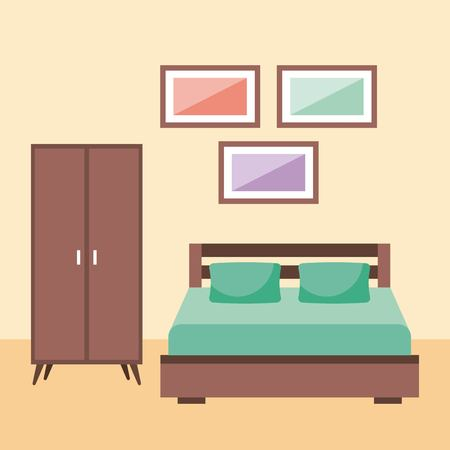 bedroom interior with furniture frame wardrobe pillow vector illustration Ilustrace