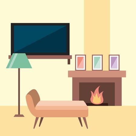 휴게실 의자 tv 램프 프레임 및 굴뚝 불꽃 벡터 일러스트 레이션