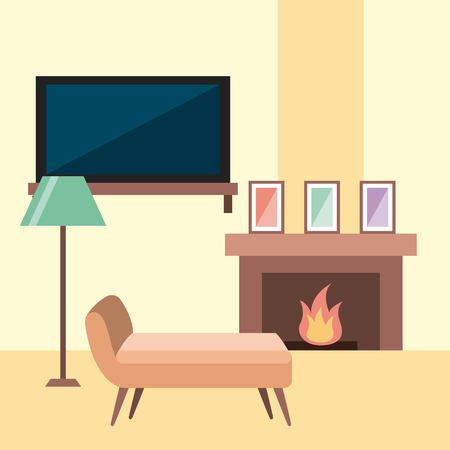 rest room chair tv lamp frame and chimney flame vector illustration Illustration