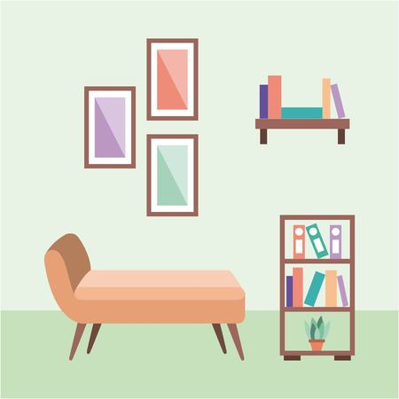 快適なトイレの椅子と本棚フレームベクトルイラスト  イラスト・ベクター素材