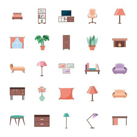 家具アイコンリビングベッドルームベクトルイラスト付きインテリアハウスルームのセット  イラスト・ベクター素材