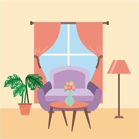 living room interior a sofa table flower pot plant lamp window vector illustration Illustration