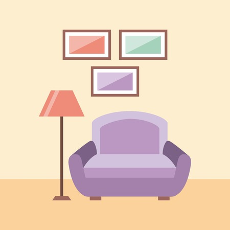 living room interior a sofa lamp and frames decoration vector illustration Illustration
