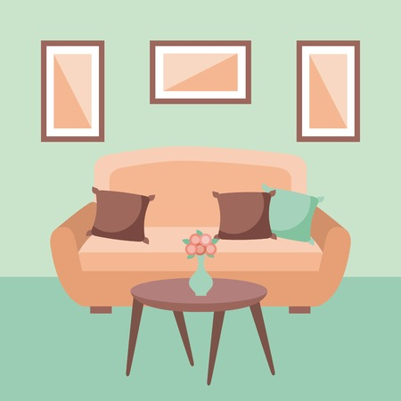 living room interior a sofa pillows table flower and frame vector illustration