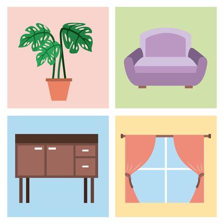 家具アイコンリビングベッドルームベクトルイラストでインテリアハウスの部屋のセット  イラスト・ベクター素材