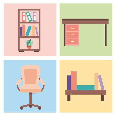 reeks van binnenlandse huiskamer met meubilairpictogrammen het leven slaapkamer vectorillustratie