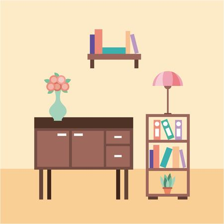 living room with furniture table lamp flower vase bookcase vector illustration 向量圖像
