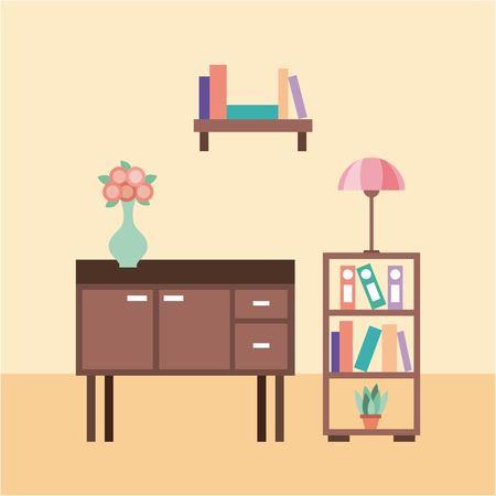 woonkamer met meubels tafellamp bloem vaas boekenkast vector illustratie