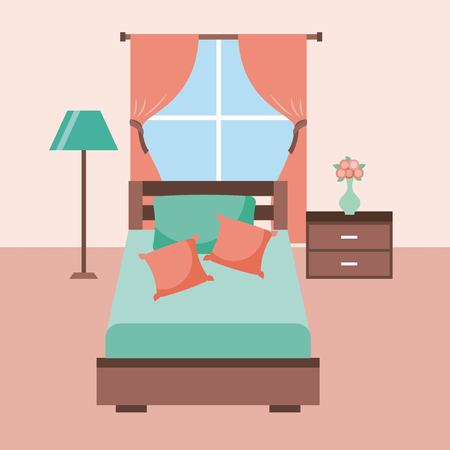 bedroom interior bed with furniture lamp tableside flower pillow window vector illustration Illustration