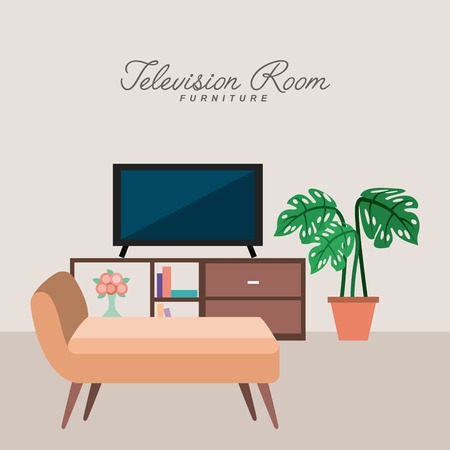 television room furniture potted plant sofa vector illustration