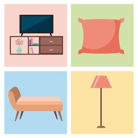 set van interieur huis kamer met meubilair iconen woonkamer slaapkamer vectorillustratie Stock Illustratie