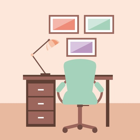 workplace concept work desk equipped with lamp frame armchair vector illustration Ilustração