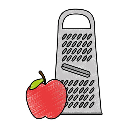 cheese grater with apple vector illustration design Stock Vector - 85655786