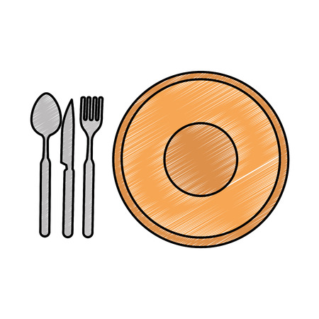 dish with cutlery icon vector illustration design