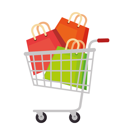 shopping cart with bags vector illustration design
