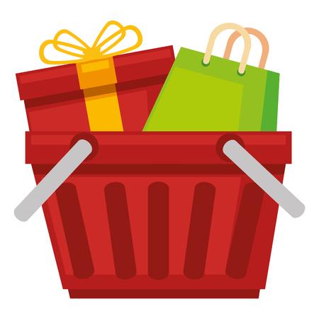 gift basket: shopping basket with gift and bag vector illustration design