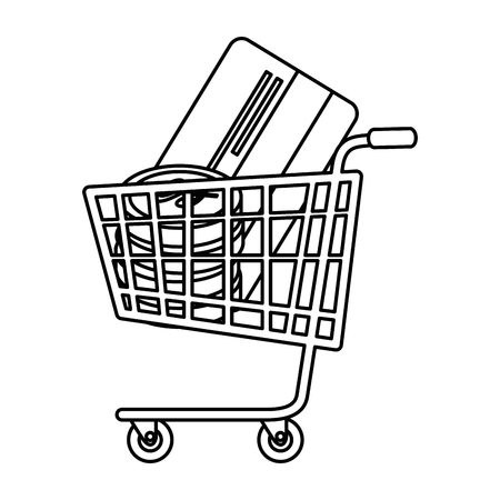 shopping cart with credit card and coins vector illustration design Illustration