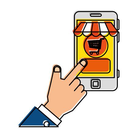 mobile device: hand human using smartphone with market online app vector illustration design