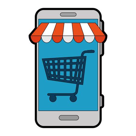 mobile device: smartphone with market online app vector illustration design
