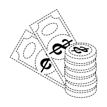 지폐와 동전 돈 격리 아이콘 벡터 일러스트 디자인