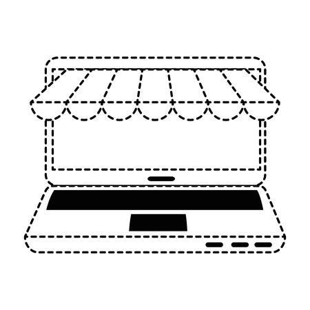 mobile device: laptop computer with parasol vector illustration design Illustration