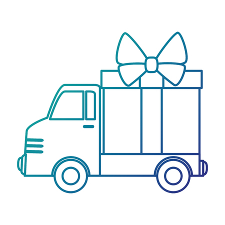 delivery service: delivery truck with gift vector illustration design Illustration