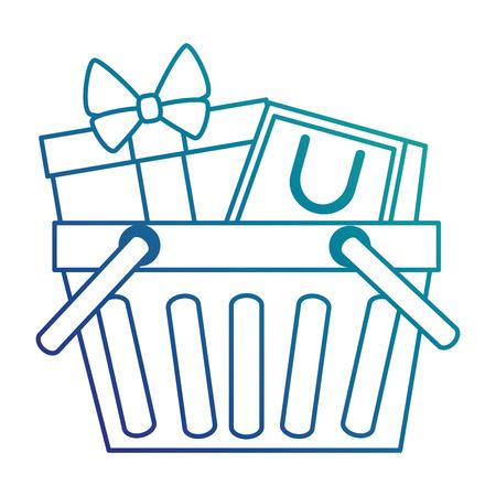 shopping basket with gift and bag vector illustration design