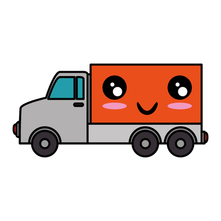 delivery truck character vector illustration design Çizim