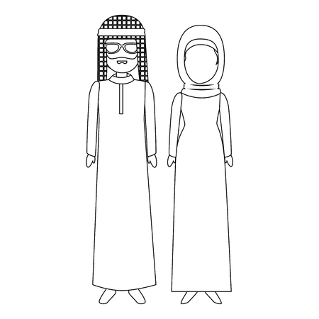 muslim couple avatars characters vector illustration design Ilustração